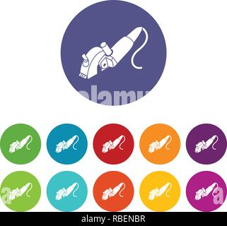 Protect angle grinder icons set vector color - Stock Photo