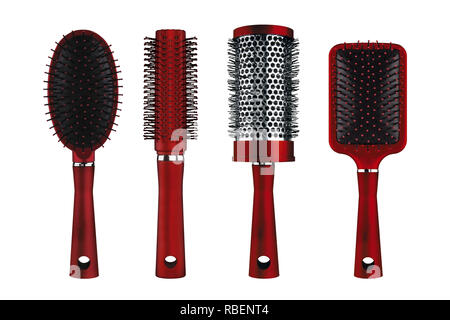 Four different hair styling luxury red brushes, isolated on white background, clipping paths included - Stock Photo