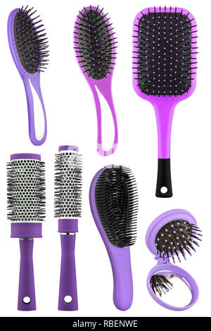 Set of several hair comb brushes for women of different sizes and colors, with handle and mirror, isolated on transparent or white background, clippin - Stock Photo