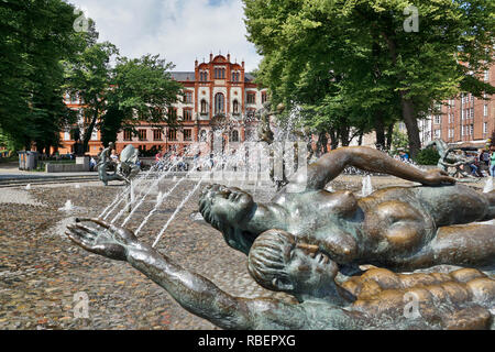 University Rostock with fountain in the foreground - Stock Photo
