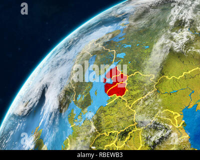 Baltic States on realistic model of planet Earth with country borders and very detailed planet surface and clouds. 3D illustration. Elements of this i - Stock Photo
