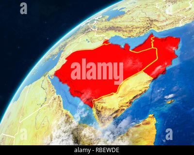 CCASG countries on realistic model of planet Earth with country borders and very detailed planet surface and clouds. 3D illustration. Elements of this - Stock Photo