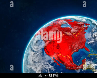 NAFTA memeber states on realistic model of planet Earth with country borders and very detailed planet surface and clouds. 3D illustration. Elements of - Stock Photo