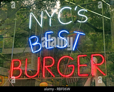 New York Citys Best Burger neon sign, NYCs Best Burger, East Village, Manhattan,  NY, USA - Stock Photo