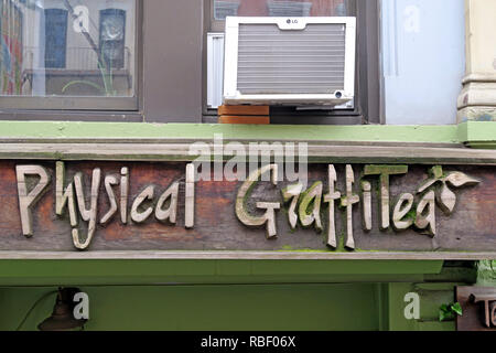 Physical Graffitea ( Physical Graffiti ) after Led Zeppelin album, cafe, 96 St Marks Pl, New York, NY 10009, USA - Stock Photo