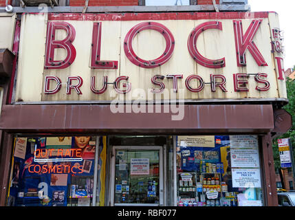 Block Drugstores pharmacy frontage, in red, neon, 101 2nd Ave, New York, NY 10003, USA - Est 1885, by Russian Alexander Block - Stock Photo