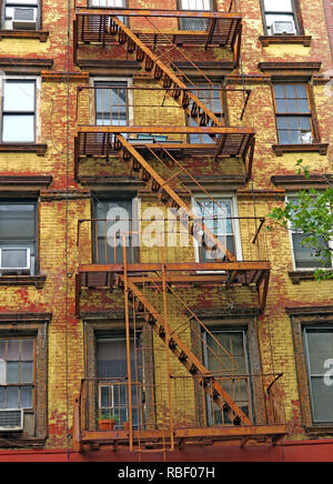 St Marks Place, 2nd avenue, tenements, East Village, Manhattan, New York City, NYC, NY, USA - Stock Photo