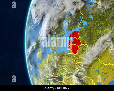 Baltic States from space on model of planet Earth with country borders and very detailed planet surface and clouds. 3D illustration. Elements of this  - Stock Photo