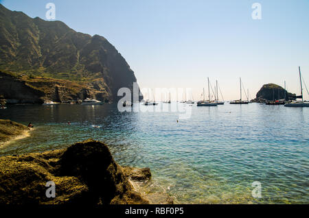 Punta Perciato, Pollara, Salina. Rocky coastline and blue clear sea, Aeolian Islands Archipelago, Sicily, Italy. - Stock Photo