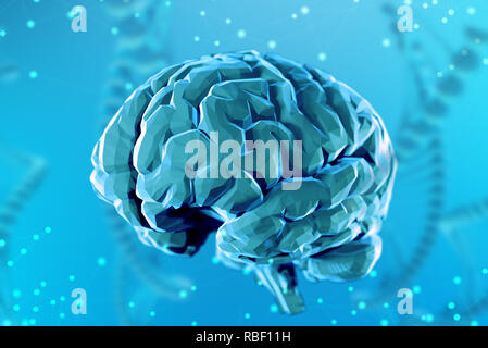 3d illustration digital brain on abstract background. The concept of artificial intelligence and the limitless possibilities of the mind - Stock Photo
