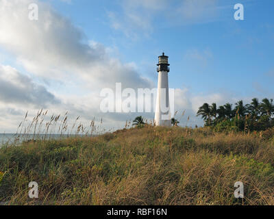 Cape Florida Lighthouse at Bill Baggs Cape Florida State Park in Key Biscayne, Florida. - Stock Photo