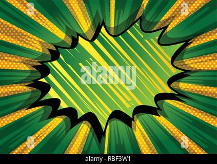 Vector illustrated retro comic book background with big green explosion bubble, pop art vintage style backdrop. - Stock Photo