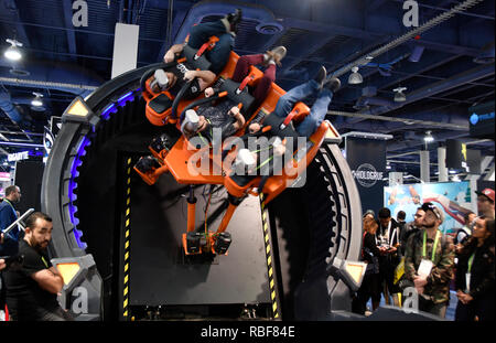 Las Vegas, USA. 9th January, 2019. DOF Robotics show their VR game to CES attendees during the second day of the 2019 CES show Wednesday. CES reports a new record of 180,000 people will be attending the 4 day show from Jan 8-11th. Las Vegas NV. Jan 9, 2019. Photo by Gene Blevins/ZumaPress Credit: Gene Blevins/ZUMA Wire/Alamy Live News - Stock Photo