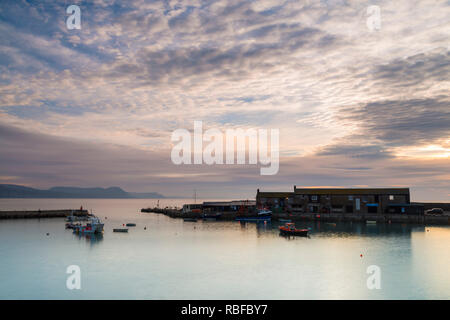 Lyme Regis, Dorset, UK. 10th Jan, 2019. UK Weather: A cold start to the day as thickening cloud in the sky rolls in above the Cobb Harbour at Lyme Regis in Dorset at sunrise. Picture Credit: Graham Hunt/Alamy Live News