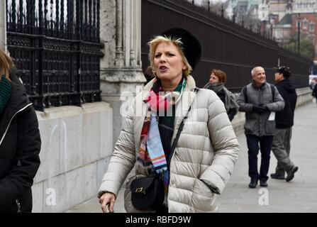 Westminster, London, UK. 10th Jan 2019. Anna SourbyConservative MP returned to Parliament following a peaceful encounter with Pro and Anti Brexit protesters on College Green, Westminster, London.UK Credit: michael melia/Alamy Live News - Stock Photo