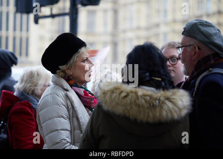 London, UK. 10th Jan, 2019. Conservative MP Anna Soubry shares a discussion with Leave supporters outside Parliament. Credit: Kevin J. Frost/Alamy Live News - Stock Photo