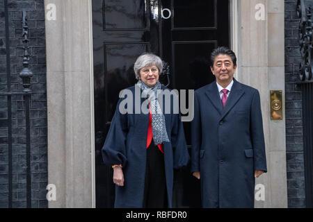 London, UK. 10th January 2019, Shirizo Abe Prime Minister of Japan, visits Theresa May MP PC, Prime Minister at 10 Downing Street, London, UK. Credit: Ian Davidson/Alamy Live News - Stock Photo