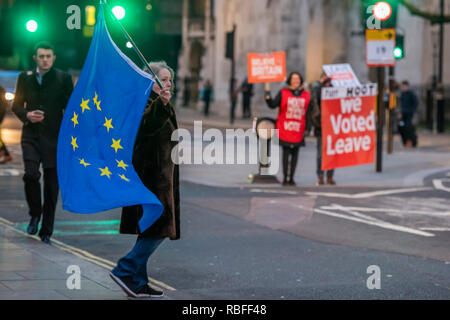 London, UK. 10th Jan, 2019. Leave means leave and SODEM, pro EU, protestors continue to make their points, side by side, outside Parliament as the vote on Theresa May's plan is confirmed for next week. Credit: Guy Bell/Alamy Live News - Stock Photo