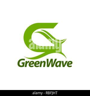 Green Wave. initial letter G logo concept design template idea - Stock Photo