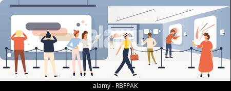 Exhibition Visitors, Tourists Viewing Modern Paintings in Contemporary Art Gallery or Biennale. Vector Illustrations. Furshet. Museum Interior. - Stock Photo
