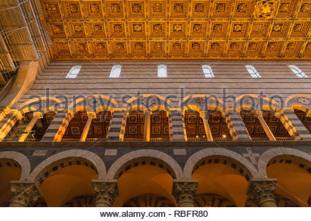 The gothic interior of the Santa Maria Assunta Cathedral, Pisa, Tuscany, Italy, Europe - Stock Photo