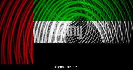 The national flag of United Arab Emirates on the background neon geometric stripes - Stock Photo