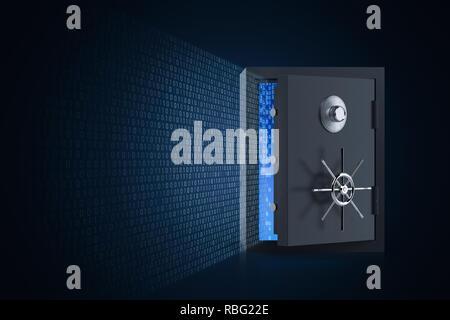 Online security concept with 3d rendering vault door open and binary code - Stock Photo