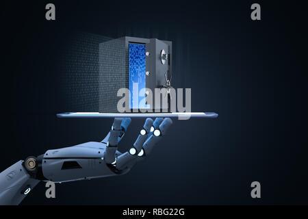 Online security concept with 3d rendering vault door - Stock Photo