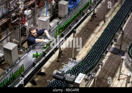 Obernai (north-eastern France): Kronenbourg Brasserie,Obernai (north-eastern France). 2015/05/27. Bottling line with glass bottles within the 'K2' sit - Stock Photo