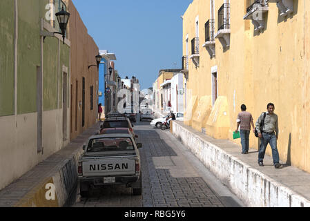 looking into a colonial street in the historic center of campeche, mexico - Stock Photo