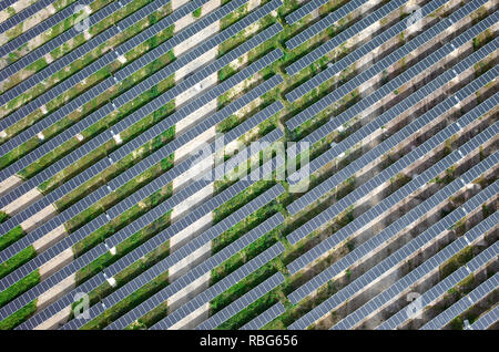 Colombelles (Normandy, north-western France): aerial view of a solar farm in a urban area,Colombelles (Normandy, north-western France): aerial view of
