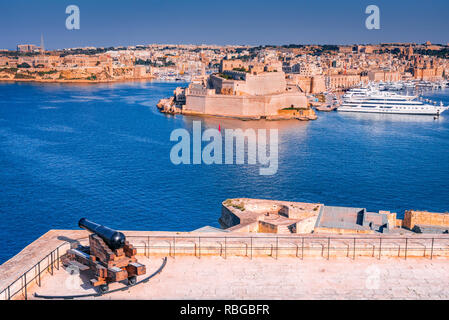 Malta, view of Fort St. Angelo from Valletta, Grand Harbour of maltese island. - Stock Photo