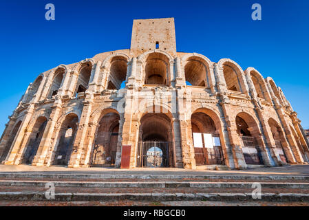 Arles, France. Ancient roman Amphiteatre (Arena) in the old Provence city. - Stock Photo