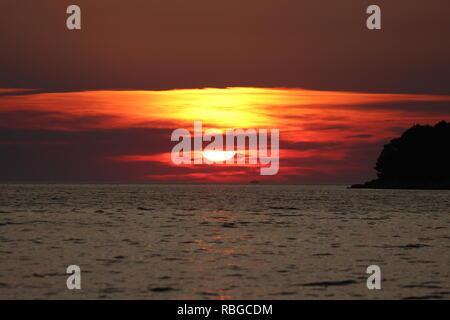 Sunset on Island Hvar in Croatia - Stock Photo