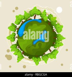 Ecology concept with green planet and trees - Stock Photo