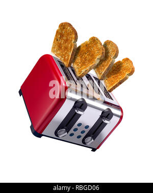 Toast popping out of a toaster, shot in a creative way - Stock Photo