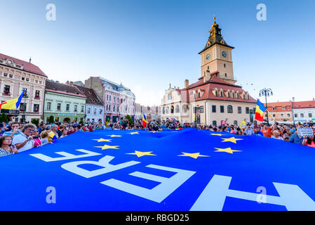 Brasov - Romania, 10 August 2018: Thousands of Romanians living in Brasov support the Diaspora anti-government protest to take place in Bucharest on F - Stock Photo