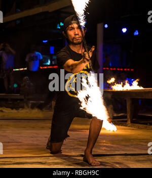 Fire show on Phi Phi don island, Thailand. Night 17 December 2018 - Stock Photo