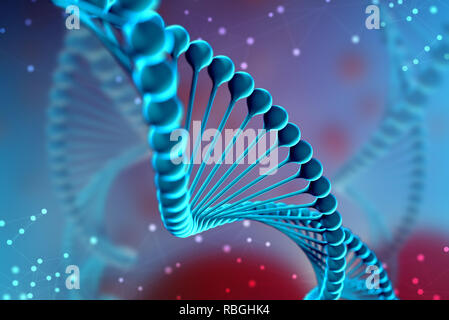 3d Illustration of DNA molecule. The helical molecule of a nucleotide in the environment of the organism like in space. The concept genome and modific - Stock Photo