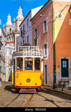 Tramway, Alfama district, Lisbon, Portugal - Stock Photo