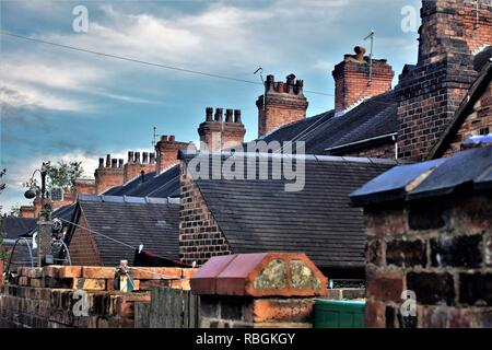 Rooftops and chimneys over terraced housing, Stoke-on-Trent - Stock Photo