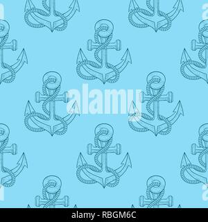 Anchors with rope. Blue sketch as seamless pattern - Stock Photo