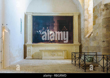 Chapel of Maniace Castle in Ortygia, with a reproduction of Beheading of Saint John the Baptist by Caravaggio and altar with Malta Knights Hospitaller - Stock Photo