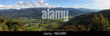 Around New Zealand - A breath taking view from Takaka Hill on New Zealand's South Island - panorama - Stock Photo
