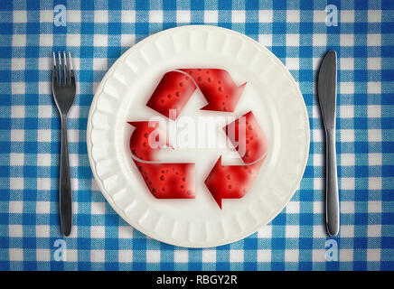 Autophagy during fasting concept with cells in red renewal symbol on white plate on blue checkered table cloth with knife and fork, top view - Stock Photo