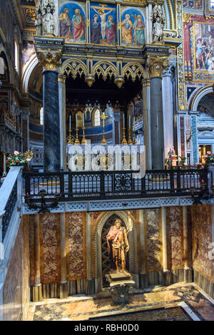 Rome, Italy - October 04, 2018: Statue of St. John the Baptist inside of Basilica di San Giovanni in Laterano - Stock Photo