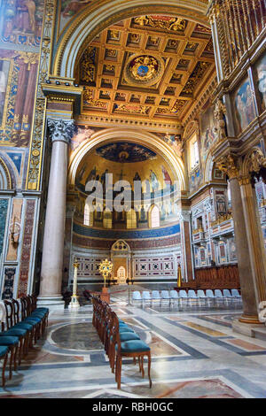 Rome, Italy - October 04, 2018: Papal cathedra inside of Basilica di San Giovanni in Laterano - Stock Photo