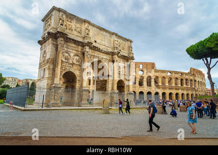 Rome, Italy - October 04, 2018: Colosseum and Arch of Constantine in Rome - Stock Photo