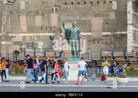 Rome, Italy - October 04, 2018: Statue of Cesar near Roman Forum in Rome - Stock Photo