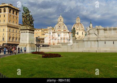 Rome, Italy - October 04, 2018: Piazza Venezia from Vittoriano and Vittorio Emanuele II Monument - Stock Photo
